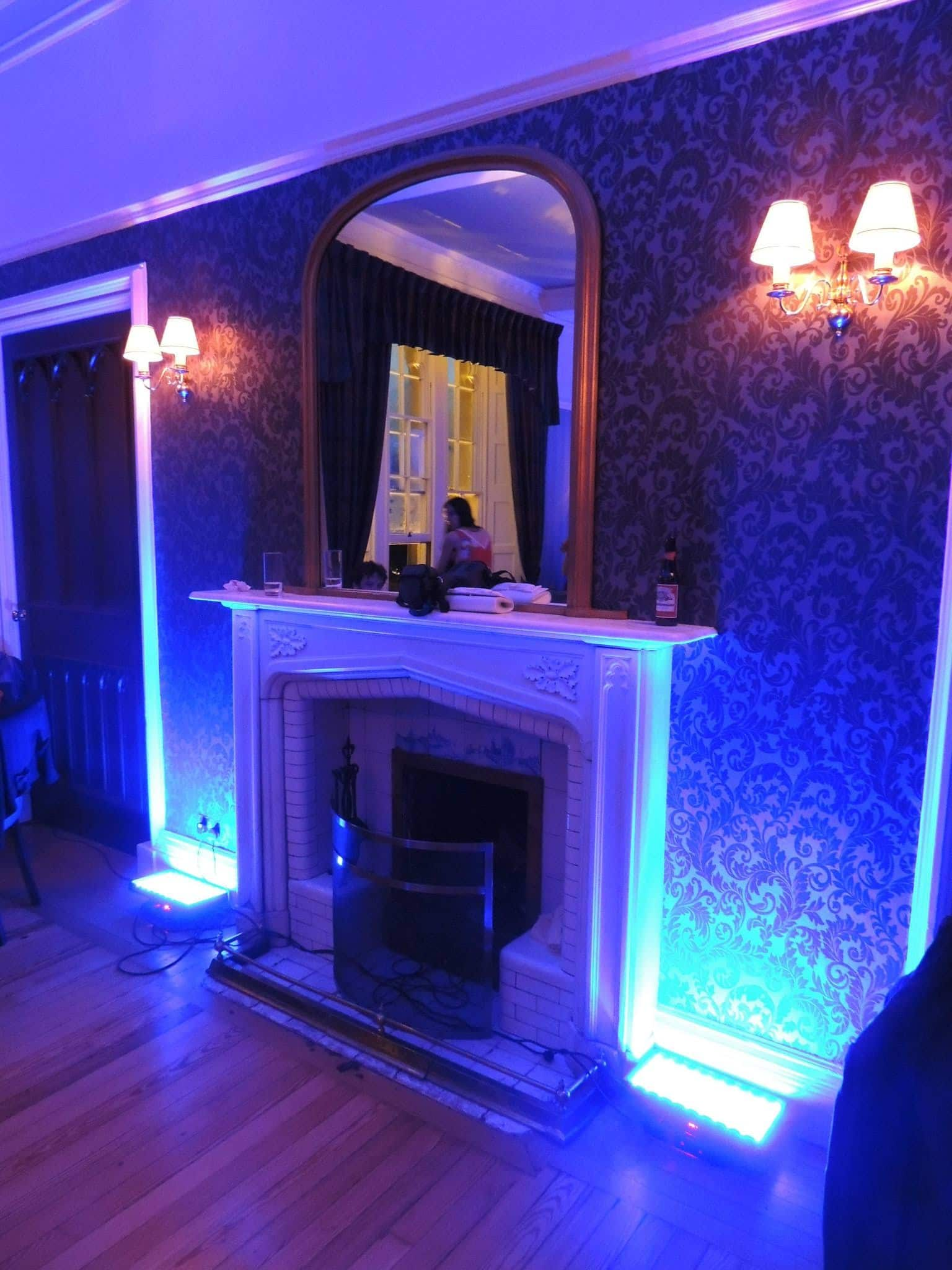 room mood lighting. we now have battery operated mood lights which really speed up the set time and means there will be no messy wires or extension reels around room lighting